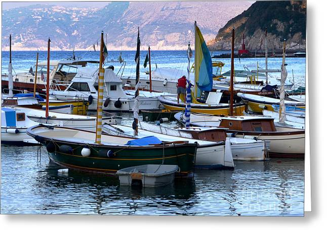 Greeting Card featuring the photograph Boats In The Harbor by Mike Ste Marie