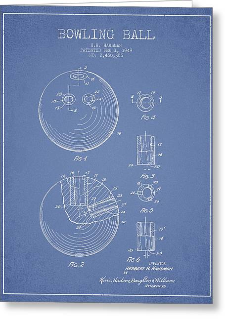 Bowling Ball Patent Drawing From 1949 Greeting Card