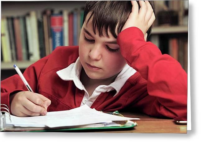 Boy Doing Homework Greeting Card