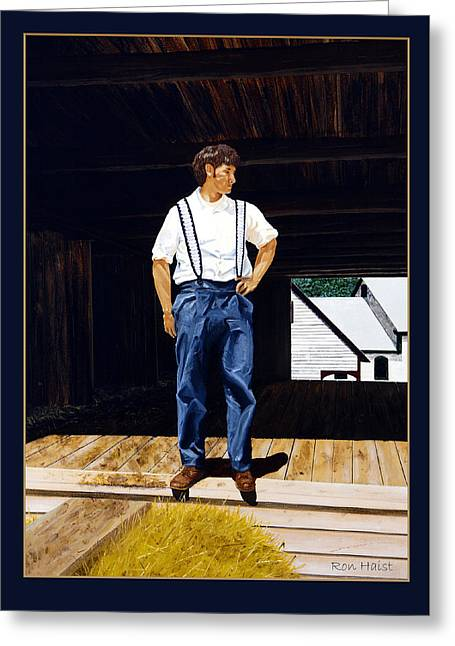 Boy In The Barn Greeting Card by Ron Haist