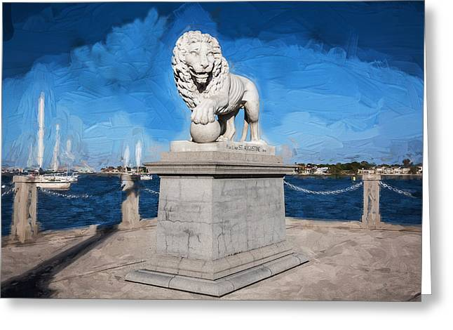 Bridge Of Lions St Augustine Florida Painted  Greeting Card by Rich Franco