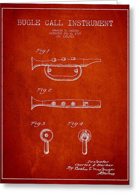 Bugle Call Instrument Patent Drawing From 1939 - Red Greeting Card by Aged Pixel