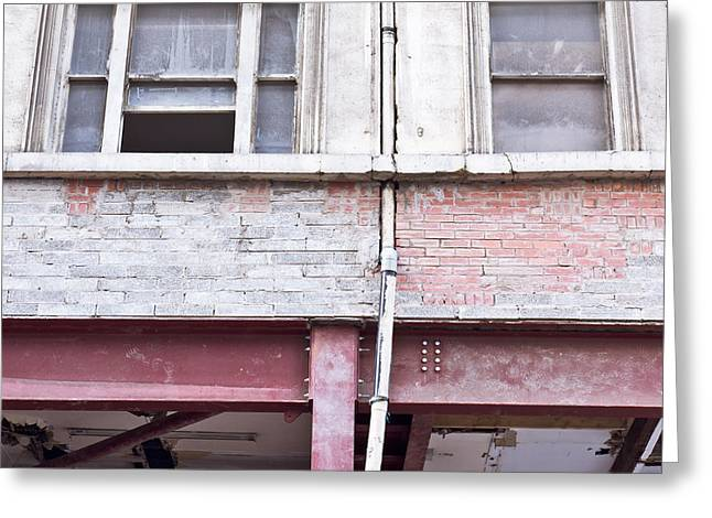 Building Repair Greeting Card by Tom Gowanlock
