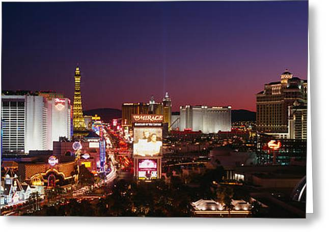 Buildings Lit Up At Night, Las Vegas Greeting Card