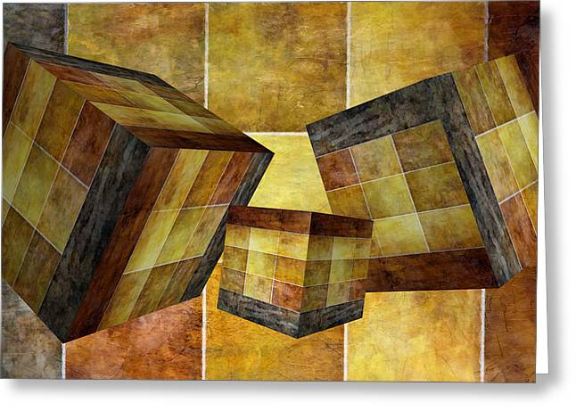 3 By 3 Gold Cubed Greeting Card