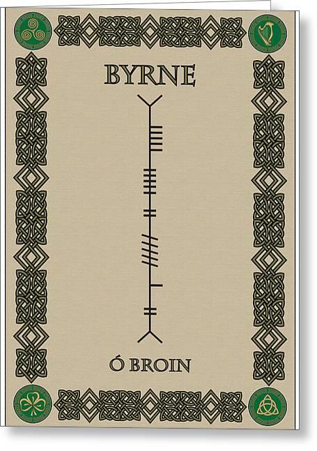 Greeting Card featuring the digital art Byrne Written In Ogham by Ireland Calling