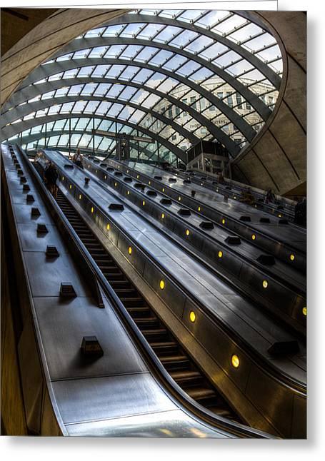 Canary Wharf Station Greeting Card by David Pyatt