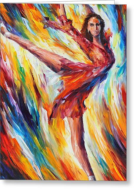 Candle Fire Greeting Card by Leonid Afremov