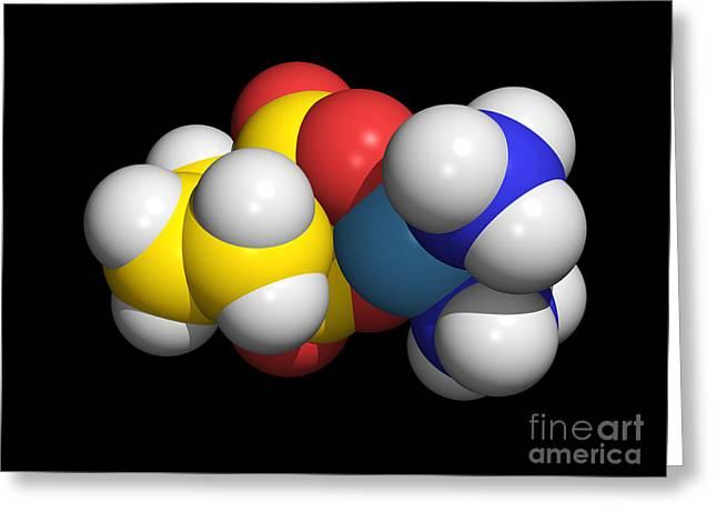 Carboplatin Molecule, Cancer Drug Greeting Card by Dr. Tim Evans