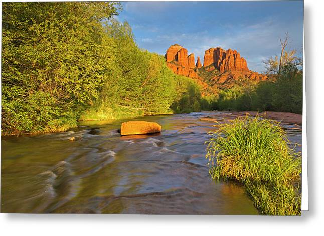 Cathedral Rocks Reflect Into Oak Creek Greeting Card