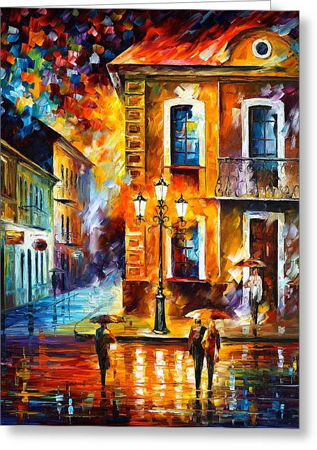 Charming Night Greeting Card by Leonid Afremov
