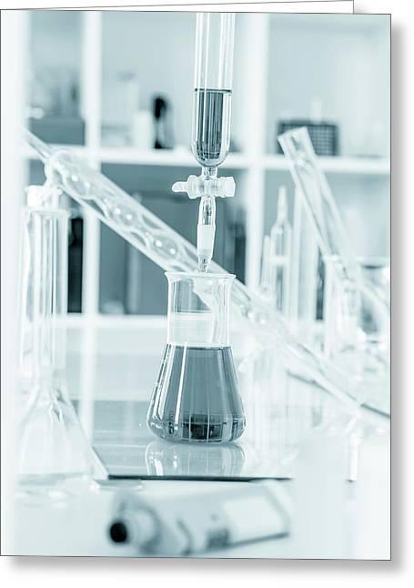 Chemistry Experiment In Lab Greeting Card by Wladimir Bulgar