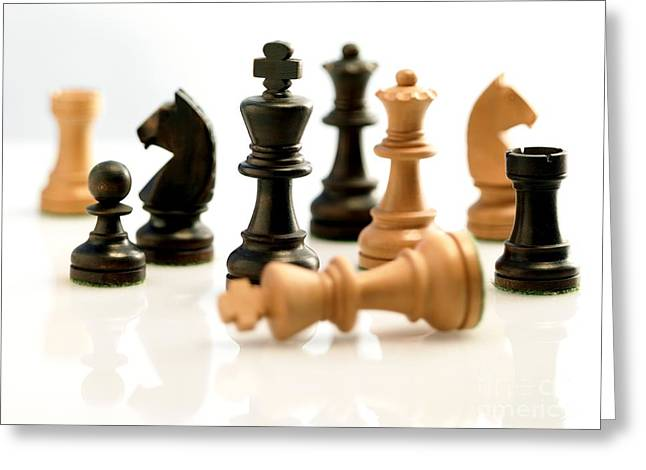 Chess Pieces Greeting Card by Tony McConnell