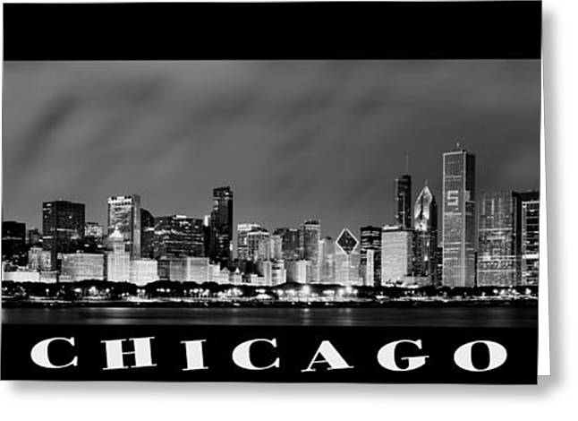 Chicago Skyline At Night In Black And White Greeting Card by Sebastian Musial