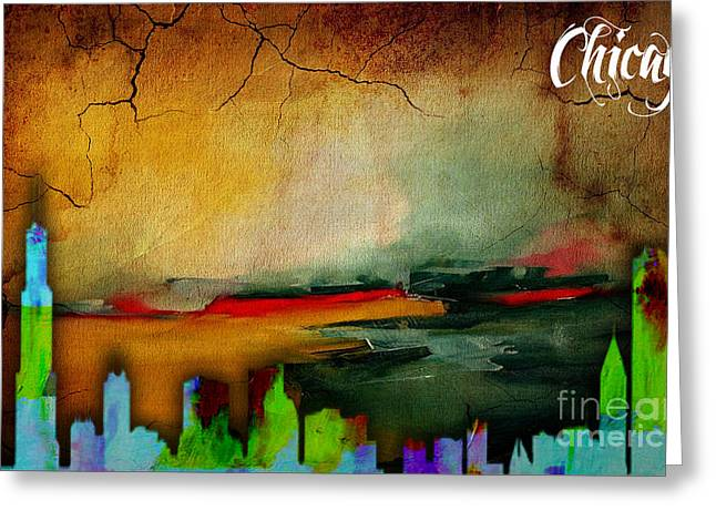 Chicago Skyline Watercolor Greeting Card by Marvin Blaine