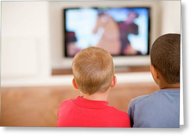 Children Watching Television Greeting Card by Ian Hooton/science Photo Library