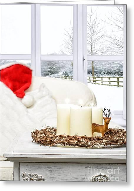 Christmas Candles Greeting Card by Amanda Elwell