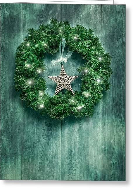 Christmas Garland Greeting Card by Amanda Elwell