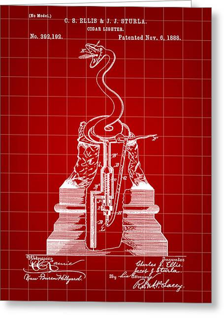 Cigar Lighter Patent 1888 - Red Greeting Card