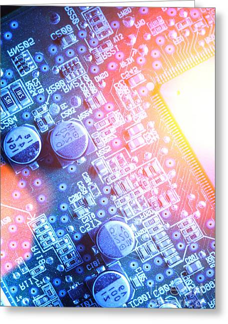 Circuit Board Abstract Greeting Card by Konstantin Sutyagin