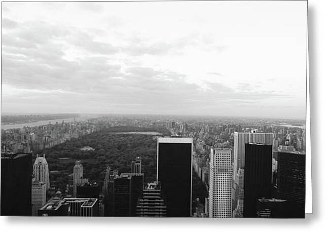 Cityscape At Sunset, Central Park, East Greeting Card