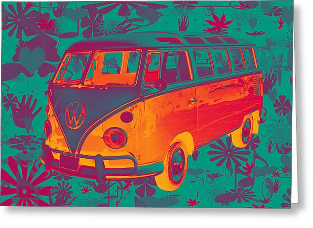 Classic Vw 21 Window Mini Bus Greeting Card by Keith Webber Jr