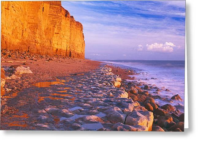 Cliff On The Beach, Burton Bradstock Greeting Card