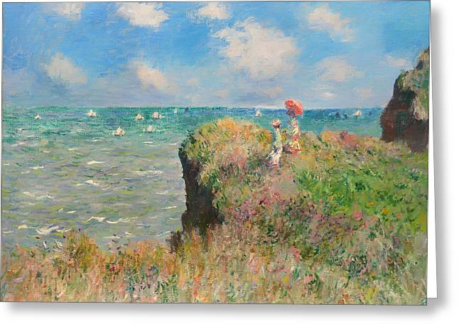 Cliff Walk At Pourville Greeting Card by Mountain Dreams