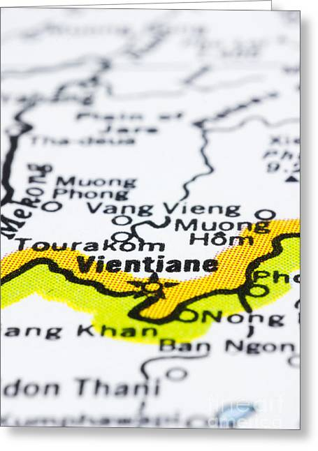 close up of vientiane on map-Laos Greeting Card by Tuimages