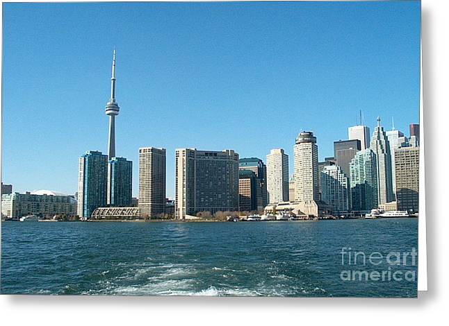 Cn Tower Toronto View From Centre Island Downtown Panorama Improvised With Graphic Artist Tools Pain Greeting Card