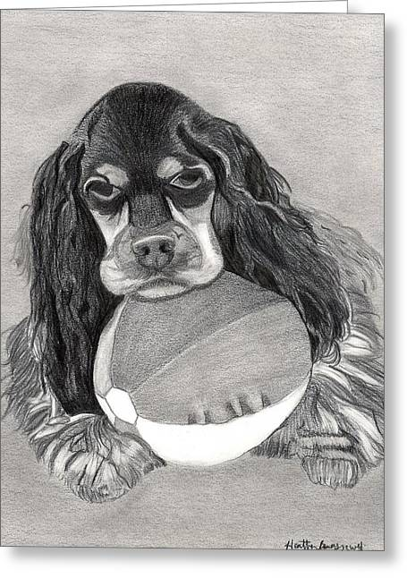 Cocker Spaniel Dog Portrait Greeting Card by Olde Time  Mercantile