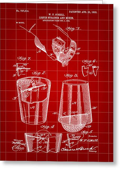 Cocktail Mixer And Strainer Patent 1902 - Red Greeting Card by Stephen Younts