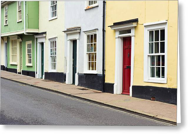 Colorful Houses Greeting Card by Tom Gowanlock