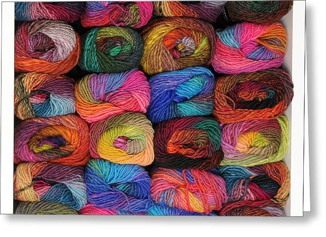 Colorful Knitting Yarn Greeting Card by Les Palenik