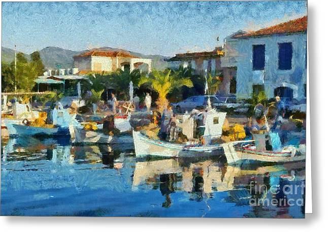 Colorful Port Greeting Card by George Atsametakis