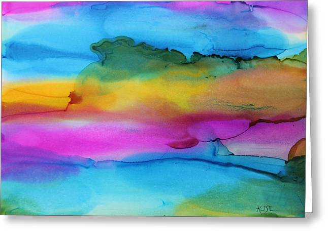 3 Colors Horizontal Abstract Greeting Card by Kim Thompson