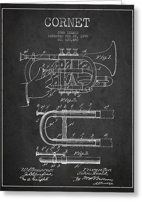 Cornet Patent Drawing From 1899 - Dark Greeting Card