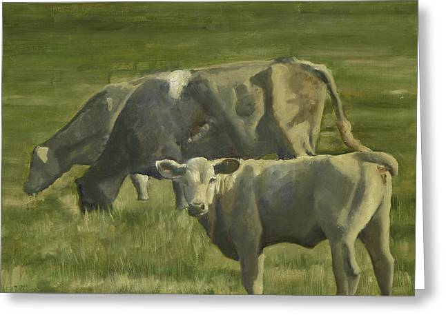 Greeting Card featuring the painting 3 Cows In The Pasture by John Reynolds