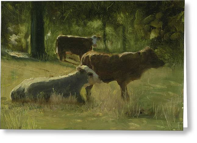 Greeting Card featuring the painting Cows In The Sun by John Reynolds