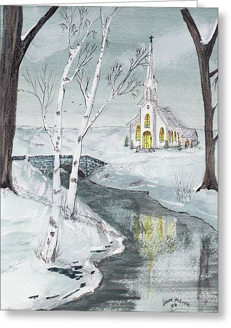 Creekview Church Greeting Card by Jack G  Brauer