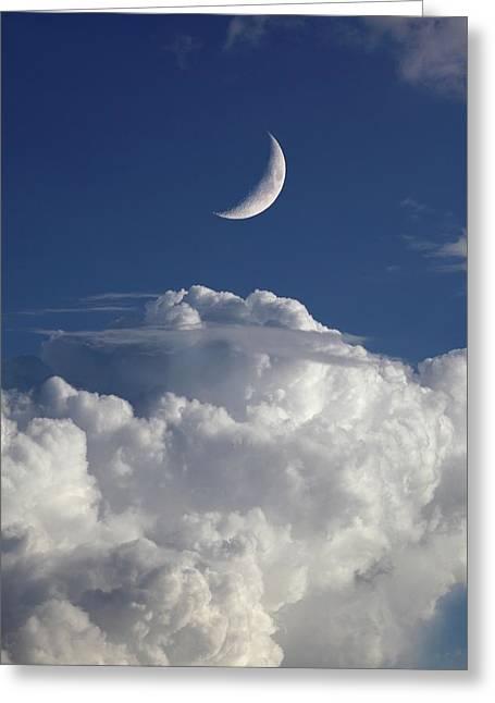 Crescent Moon In Cloudy Sky Greeting Card by Detlev Van Ravenswaay