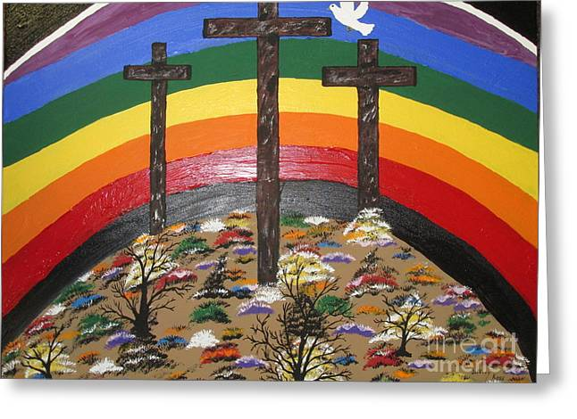 3 Crosses And A Rainbow Greeting Card by Jeffrey Koss