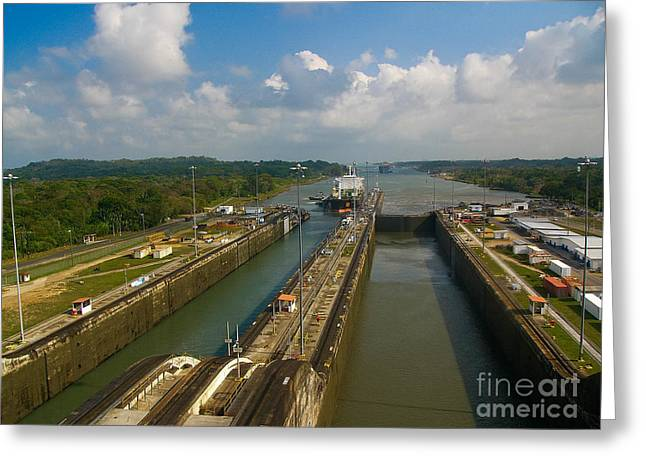Cruise Ship Passes Through Gatun Locks Panama Canal Greeting Card