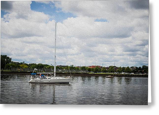 Cruising The Saginaw River Greeting Card by Tom Causley