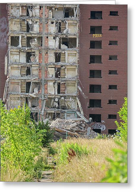 Demolition Of Detroit Housing Towers Greeting Card by Jim West