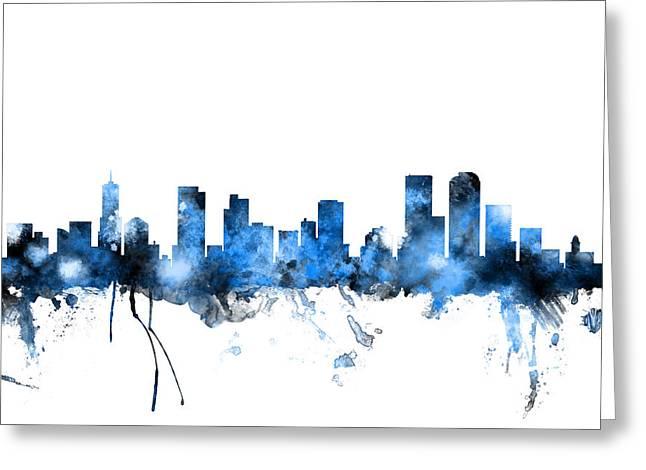 Denver Colorado Skyline Greeting Card by Michael Tompsett