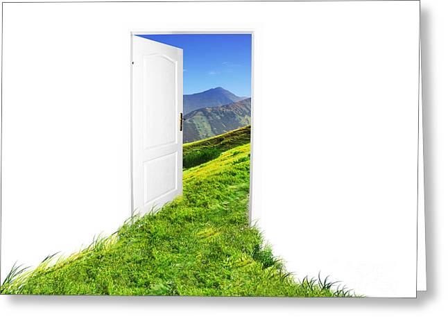 Door To New World Greeting Card by Michal Bednarek