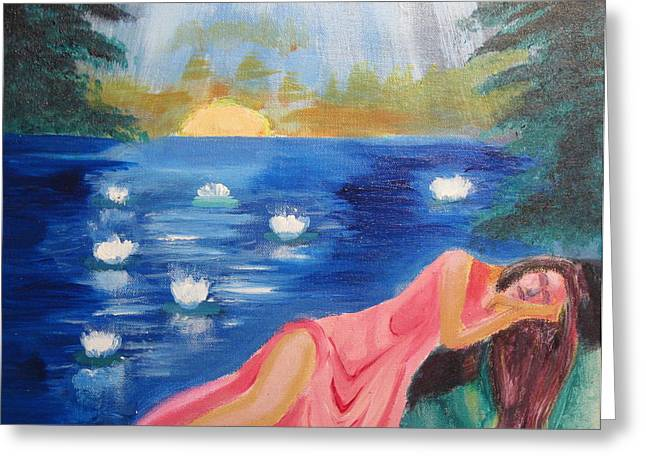 Greeting Card featuring the painting Dreaming At Lotus Lake by Diana Riukas