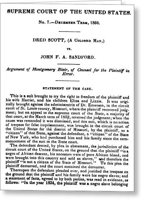 Dred Scott (1795?-1858) Greeting Card by Granger