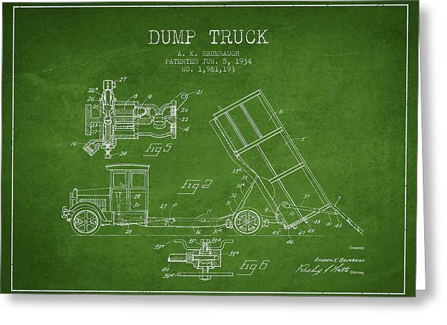 Dump Truck Patent Drawing From 1934 Greeting Card by Aged Pixel